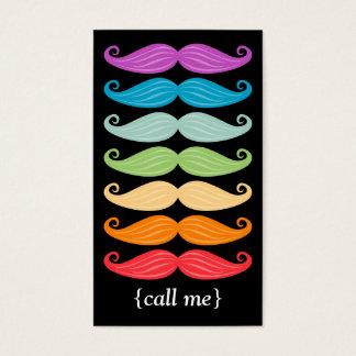 Rainbow Moustaches Vertical Bizcard Business Card