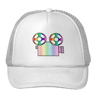 Rainbow Movie Camera on White Cap
