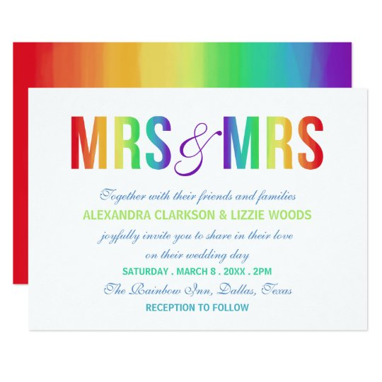 Rainbow Mrs Mrs Lesbian Wedding Card Zazzlecomau