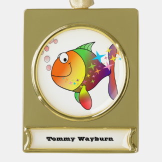 Rainbow multi color pacific ocean tuna fish gold plated banner ornament
