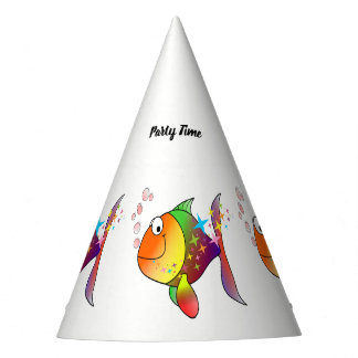Rainbow multi color pacific ocean tuna fish party hat