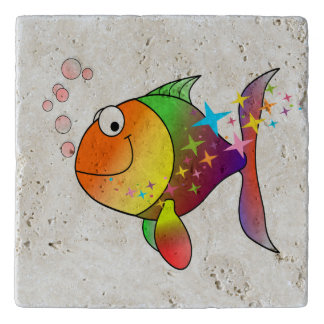 Rainbow multi color pacific ocean tuna fish trivet