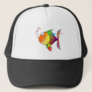 Rainbow multi color pacific ocean tuna trucker hat