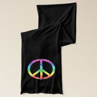 Rainbow multi color peace symbol scarf