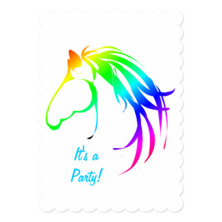 Rainbow Multicolored Horse Birthday Custom Invite
