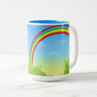 rainbow_multicolored Two-Tone coffee mug