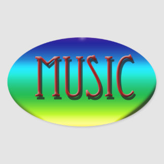 Rainbow Music Heart for Music Teachers Gifts Oval Stickers