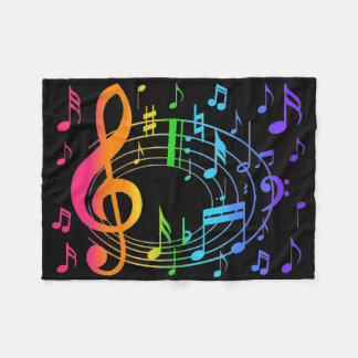 Rainbow Music Note Girl Blacklight Florescent Neon Fleece Blanket