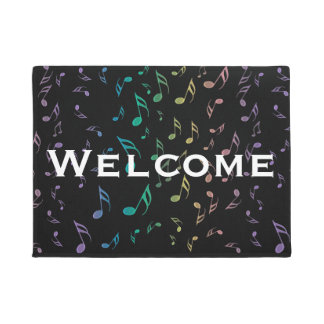 Rainbow Music Notes On Black Doormat