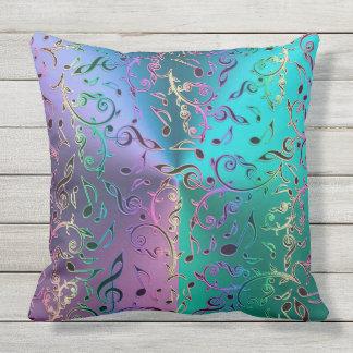 Rainbow Music Notes Pattern Outdoor Cushion
