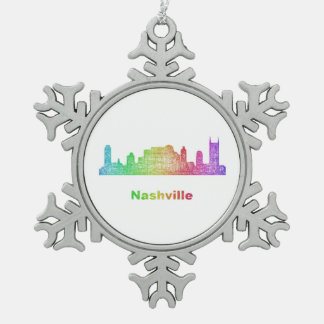Rainbow Nashville skyline Snowflake Pewter Christmas Ornament