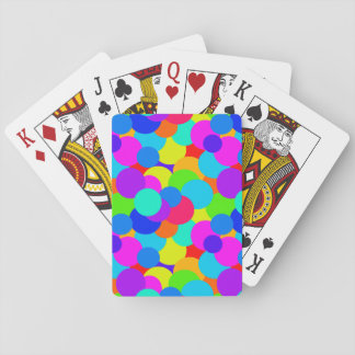 Rainbow Neon Bright Colors Circles Bubbles Teen Playing Cards