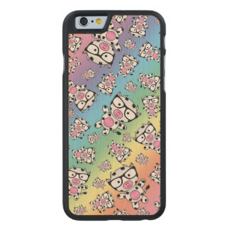 Rainbow nerd cow pattern carved® maple iPhone 6 case