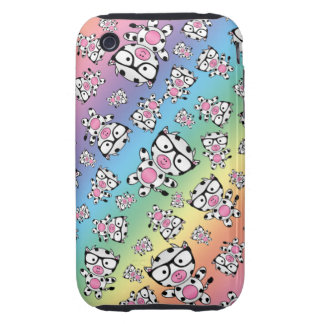 Rainbow nerd cow pattern tough iPhone 3 covers