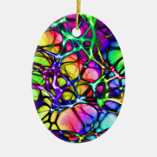 Rainbow Network Ceramic Ornament