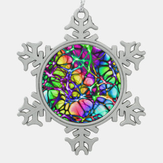 Rainbow Network Snowflake Pewter Christmas Ornament