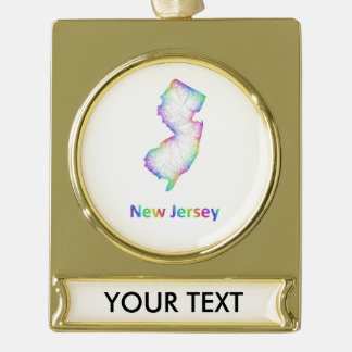 Rainbow New Jersey map Gold Plated Banner Ornament