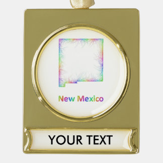 Rainbow New Mexico map Gold Plated Banner Ornament