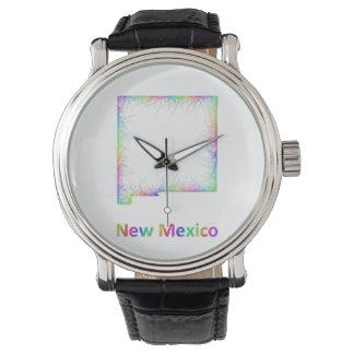 Rainbow New Mexico map Wristwatches