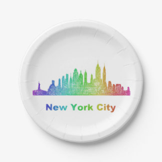 Rainbow New York City skyline 7 Inch Paper Plate