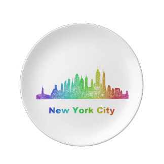 Rainbow New York City skyline Porcelain Plates
