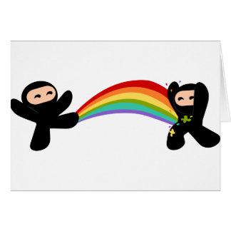 Rainbow Ninja Kick Greeting Card