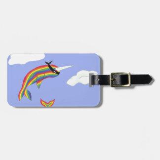 Rainbow Ninja Narwhal that Flies Luggage Tag