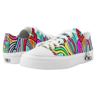 Rainbow Noodles Custom Zipz Low Top Kickers Printed Shoes