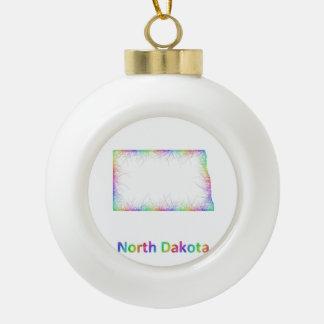 Rainbow North Dakota map Ceramic Ball Decoration