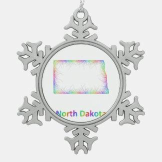 Rainbow North Dakota map Pewter Snowflake Decoration
