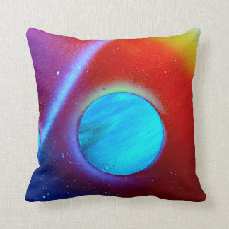 rainbow nova two blue green planets spraypaint cushion