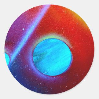 rainbow nova two blue green planets spraypaint stickers