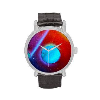 rainbow nova two blue green planets spraypaint wrist watch