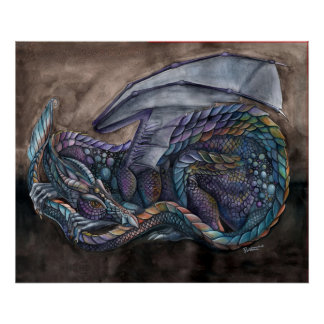 Rainbow Obsidian Dragon by Portia St Luke Poster