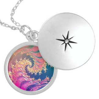Rainbow Octopus Tentacles in a Fractal Spiral Sterling Silver Necklace