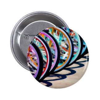 Rainbow of bicycles pinback button