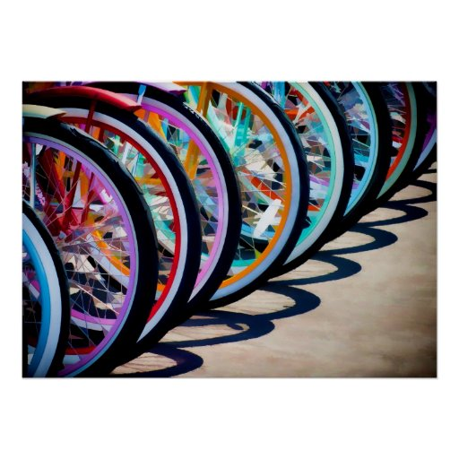 Rainbow Of Bicycles Poster
