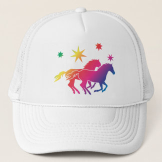 Rainbow of horses trucker hat