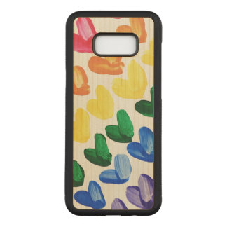 Rainbow of Love - Fun Colorful Hand Painted Hearts Carved Samsung Galaxy S8+ Case