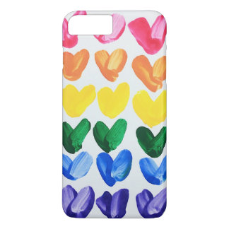 Rainbow of Love - Fun Colorful Hand Painted Hearts iPhone 8 Plus/7 Plus Case