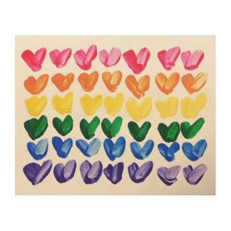 Rainbow of Love - Fun Colorful Hand Painted Hearts Wood Print