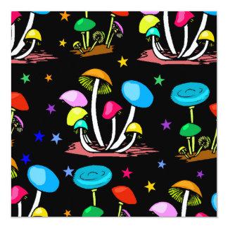Rainbow Of Mushrooms 13 Cm X 13 Cm Square Invitation Card