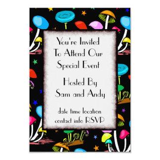 """Rainbow Of Mushrooms 3.5"""" X 5"""" Invitation Card"""