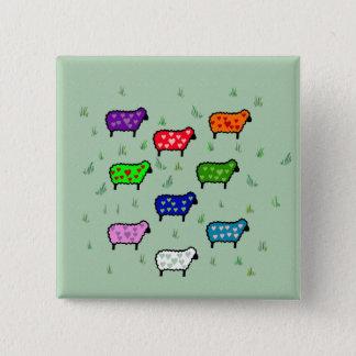 Rainbow Of Sheep 15 Cm Square Badge