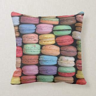 Rainbow of Stacked French Macaron Cookies Cushion