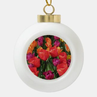 Rainbow Of Tulips Ceramic Ball Christmas Ornament