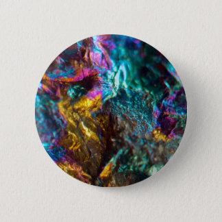 Rainbow Oil Slick Crystal Rock 6 Cm Round Badge
