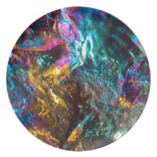 Rainbow Oil Slick Crystal Rock Plate