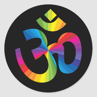 Rainbow Om Sign Classic Round Sticker