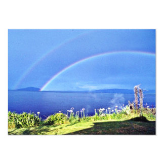 Rainbow On Mokoia Island, Lake Rotorua, North Isla 13 Cm X 18 Cm Invitation Card